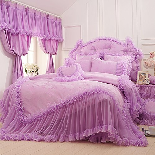 FADFAY Home TextileBeautiful Korean Bedding SetRomantic Girls Lace Ruffle Bedding Sets Queen Size