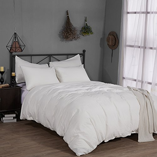 Rural Dandelion 100 Washed Cotton Duvet Cover Bedding Set  Healthy Luxurious Comfortable Breathable Soft and Extremely Durable FullQueen White