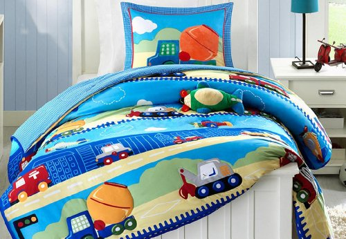 Construction Dump Trucks Boys Twin Comforter Sham Toss Pillow 3 Piece Bedding