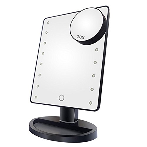 NEWQIBEAUTY Lighted Makeup Mirror with 16 LED LightsRemoveable 10x Magnification Spot Mirror180 Degree Adjustable RotationTouch Screen Lighted Vanity Mirror