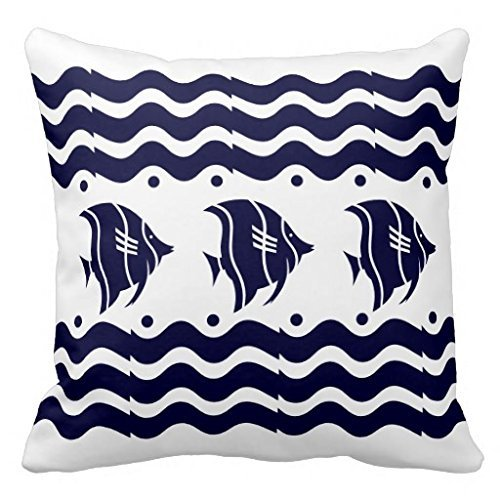 Christams Jewelry Gifts Art Deco Waves Fish Blue White Throw Pillow Case