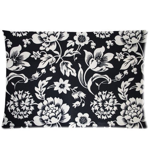 Personalized Black Floral Pillowcase Standard Size 20x30 one side Soft Pillow Cover Case GPGP-001