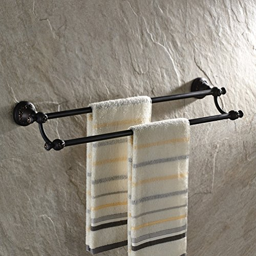 GUMA Wall Mounted 24-inch Double Towel Bar Solid Brass Bathroom Shower Towel Rack Oil Rubbed Bronze Finish