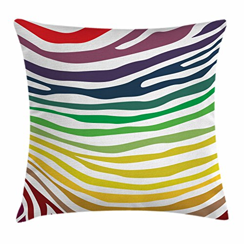 Zebra Print Throw Pillow Cushion Cover by Ambesonne Zebra Stripes Pattern in Cheering Rainbow Colors in Modern Style Art Decorative Square Accent Pillow Case 18 X18 Inches Red Yellow Green