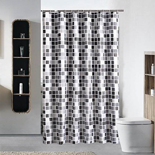 JynXos Cube Pattern Ombre Bathroom Shower Curtain - White and Black Square Polyester Fabric Shower Curtain Waterproof Bathroom Shower Curtains Design 72x72 inch
