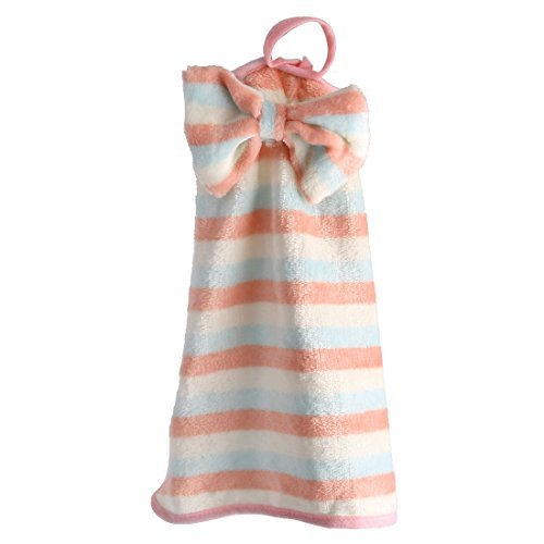 DealMux Stripe Pattern Household Bowknot Decor Wall Hanging Cleaning Hand Drying Towel