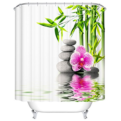 Goodbath Zen Garden Shower Curtain Bamboo Basalt Stones Flower SPA Decor Fabric Waterproof Mildew Bathroom Accessory 66 x 72 Inch Green White Pink Grey