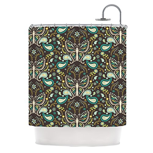 Kess InHouse Suzie Tremel Butterfly Garden Shower Curtain 69 by 70-Inch BrownTeal