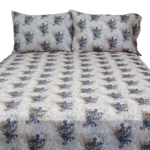Veratex Street Revival Collection Stylish Winged Cross Design 100 Polyester Bedroom Sheet Set Full Size Multicolored