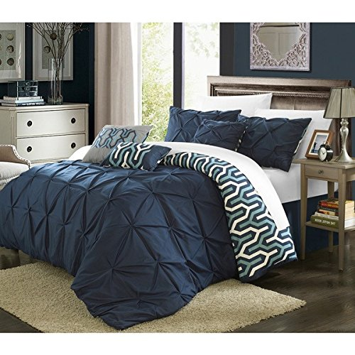 11 Piece Navy Blue Abstract Floral Comforter Queen Set White Adult Bedding Master Bedroom Stylish Pintuck Pinch Pleated Ruffled Pattern Elegant Themed Traditional Microfiber Polyester
