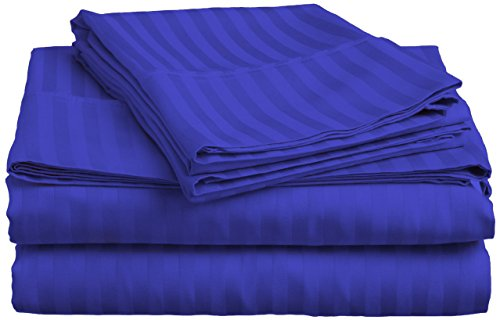 Fab Linens New Collection 300 Thread Count 100 Egyptian Cotton Striped Egyptian Blue Expanded Queen Sheet Set with 29 Deep Pockets