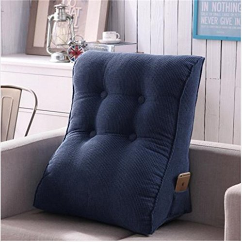Vercart Sofa Bed Large Filled Triangular Wedge Cushion Bed Backrest Positioning Support Pillow Reading Pillow Office Lumbar Pad with Removable Cover Denim Blue 22x24 Inches