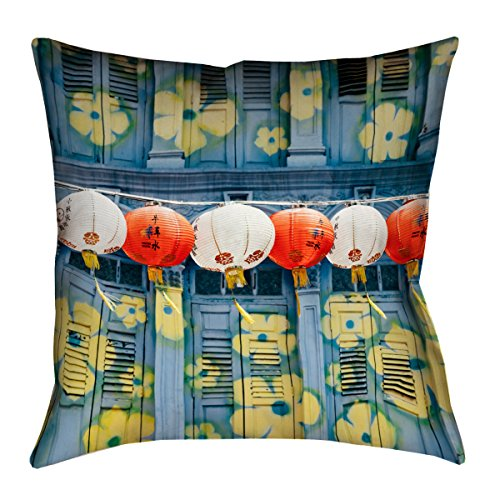 ArtVerse Annie Spratt Lanterns in Singapore x 36 Floor Pillows Double Sided Print with Concealed Zipper Insert