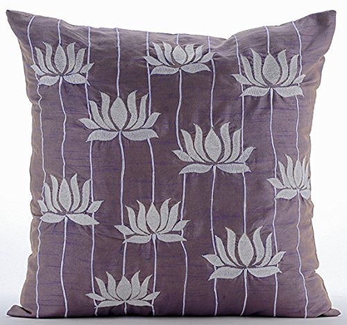 Designer Purple Euro Shams Covers 26x26 Euro Pillow Cases Lotus Flower Embroidered Euro Pillow Shams Silk Euro Sham Covers Floral Contemporary Euro Shams - Two Tone Lotus