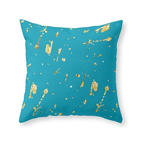 Society6 Teal And Gold Throw Pillow Indoor Cover 18 x 18 with pillow insert