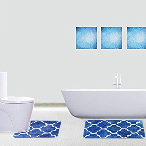 Fashion Dream Microfiber Bathroom Contour Rugs Combo Set of 2 Soft Shaggy Non Slip Bath Shower Mat and U-shaped Toilet Floor Rug - Navy Blue scroll20x32 Inches 20 x 22 Inches