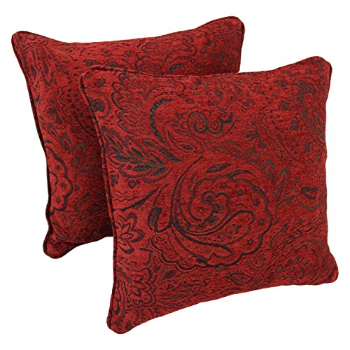 Blazing Needles Double-Corded Square Patterned Jacquard Chenille Throw Pillows with Inserts Set of 2 18 Scrolled Floral Red