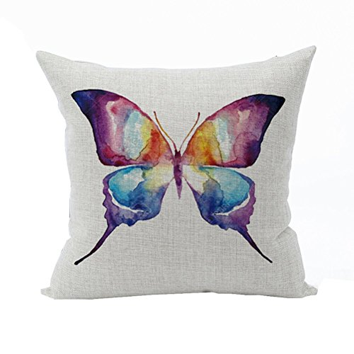 Nunubee Animal Home Pillowcase Cotton Linen Pillow Covers Decorative Bed Cushion Cover Multicolor Butterfly
