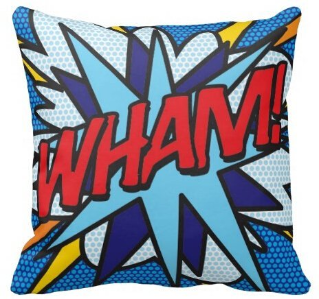 hello halo Comic Book WHAM KA-POW Fun Square Zippered Throw Pillowcase Twin Sides Printed Pillow Sham