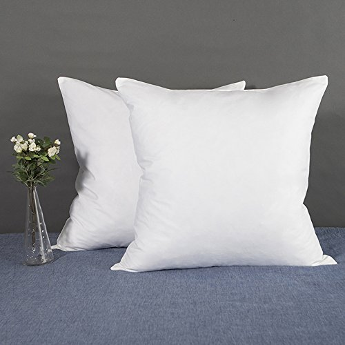 Set of 2 YSTHER Down and Feather Pillow Inserts  Throw Pillows Double Fabric 100 Cotton 20 L X 20 W White