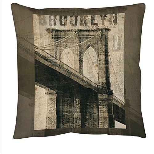 GD-D Home Cotton Square Brown Vintage NY Brooklyn Floor Throw Pillow Case Decorative Pillow Cushion Cover PillowCase 18inch