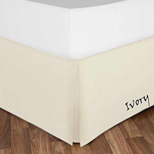 Egyptian Cotton 600 Thread Count 1-Piece Hotel Classic Bed SkirtDust Ruffle King Bed Skirt- 21-Inches Drop Length Ivory Solid King