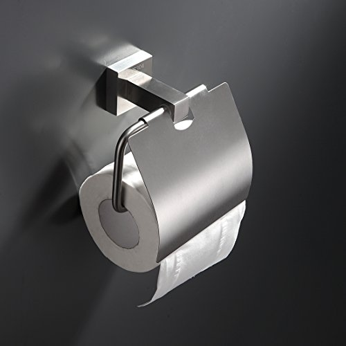 GIMILI Bathroom Paper Holders with Cover Rack Brushed Nickel Wall Mounted Toilet Roll Holder Stainless Steel