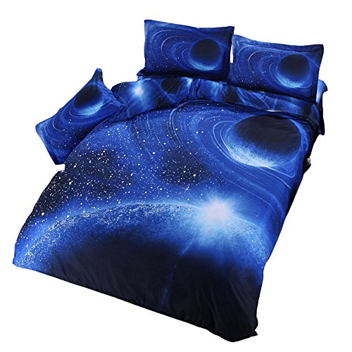 Moreover 4 Pieces Blue Galaxy Bedding Blue Bedding Sets Kids 3D Space Bedding Set Queen Size One Flat SheetOne Duvet Cover and Two Pillowcases