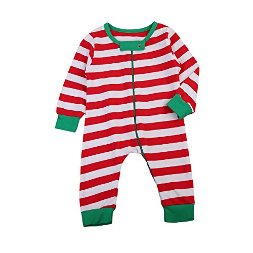 Baby Boy Girl Pajamas Cute White and Red Striped Jumpsuit Romper Zip Front Wearable Blankets 700-6 months White Red
