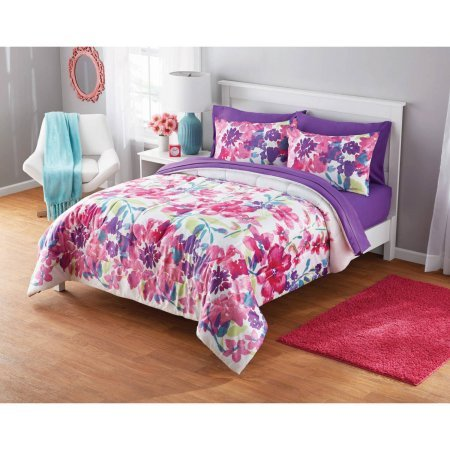 Fashionable Lively and Colorful Your Zone Adelaine Watercolor Floral Comforter Set PinkPurple FullQueen