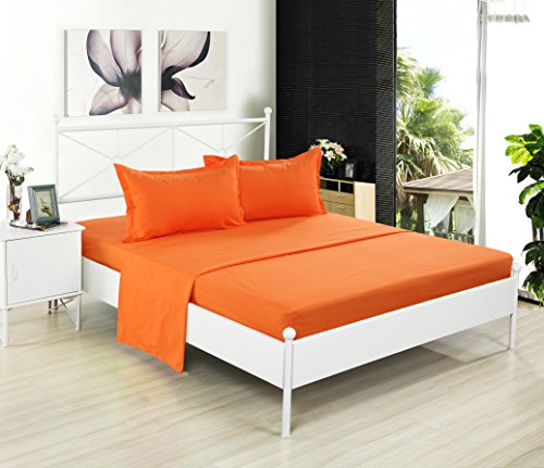 Kuality Brushed Microfiber Bedding 4pc WrinkleStain Fade Resistant Easy Care Soft Solid Color Bed Sheet Set1 Fitted Sheet 1 Flat Sheet 2 Pillow CasesShams Queen Size Orange