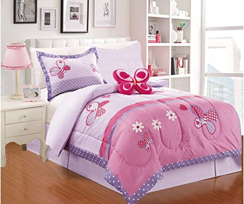 BUTTERFLY CHIC TEENS GIRLS COMFORTER SET 4 PCS TWIN SIZE
