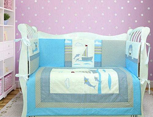 Lappi Baby Aqua Crib Bedding Set For Boys - 100 Cotton 8 Piece Baby Bedding With Bumper - Sailing Boat Dolphins Nursery Bedding - Custom Design Boy Crib Set - Perfect Baby Shower Gift