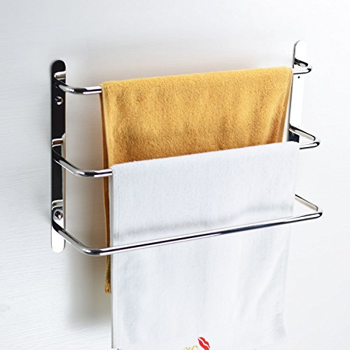 Turs SUS304 Stainless Steel Bath Towel Rack Towel Shelf 3 Tiers Towel Bars Wall MountedPolished Finish