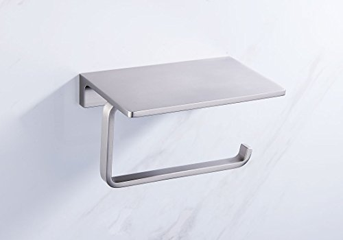 Sanliv Toilet Paper Holder with Cell Phone Shelf for Hotel Bathroom Solid Brass Construction Brushed Nickel Finish