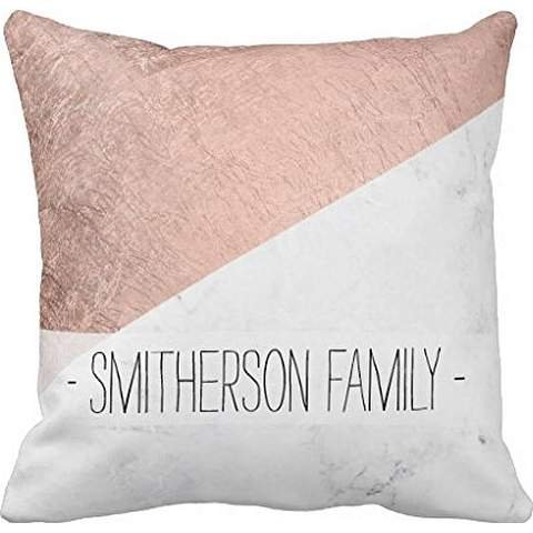 Stylish modern rose gold white marble color block throw pillow cover 1616 cover 1616
