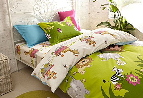 Cliab Elephant Lion Monkey Giraffe Zebra with Little Train Animal Theme Bedding TwinSize Optional Sheets Jungle Duvet Cover Set 100 Cotton 5 Pieces