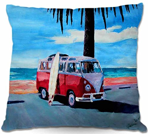 DiaNoche Designs Markus Bleichner Home Unique Bedroom Living Room and Bathroom Ideas the Red Bus Volkswagen Decorative Woven Couch Throw Pillows 20 x 20
