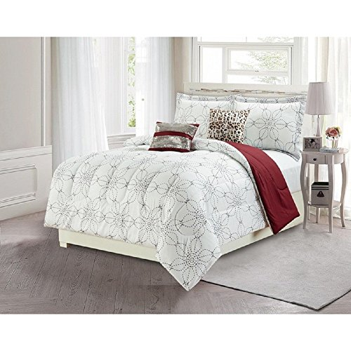 4 Piece Girls Black White Geometric Flowers Theme Comforter Twin Set Abstract Girly All Over Floral Bedding Stylish Chic Multi Small Dots Flower Reversible Solid Dark Red Burgundy