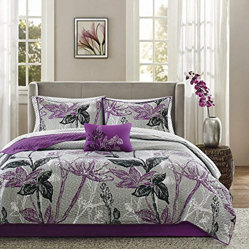 8 Piece Purple Grey Black Wild Floral Pattern Coverlet Cal King Set Elegant Large Garden Flowers Print Boho Chic Bohmian Design Solid Soft Cozy Reversible Bedding Splash Vibrant Colors Unisex