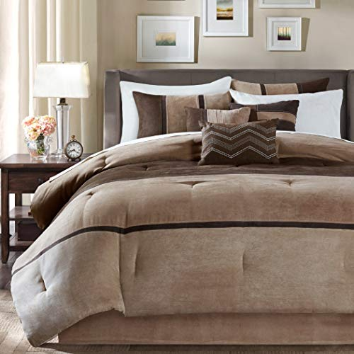D&H 7 Piece Tan Chocolate Brown Striped Comforter King Set Dark Taupe Color Block Adult Bedding Master Bedroom Stylish Patchwork Pattern Elegant Embroidered Pillow Traditional Polyester Stripe