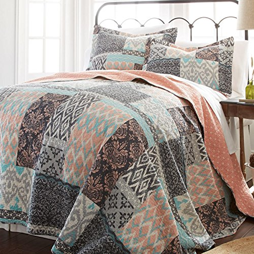 2 Piece Girls Teal Blue Coral Pink Patchwork Quilt Twin Set Tribal Ikat Bedding Squares Pattern Florals Southwest Native American Lightweight Reversible Solid Color Cotton Polyester