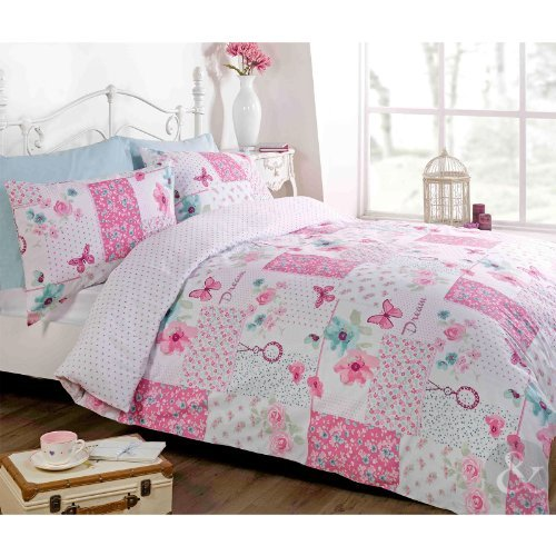 Just Contempo Butterfly Floral Patchwork Duvet Cover Set Double Pink by Just Contempo