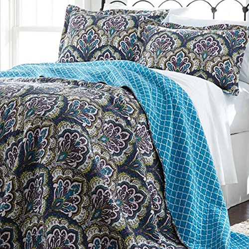 3 Piece Blue Purple Green White Full Queen Quilt Set Paisley Themed Reversible Bedding Flower Floral Teal Plum Vintage Geometric Quatrefoil Bold Boho Bohemian Chic Stylish Modern Leaf Nature Cotton