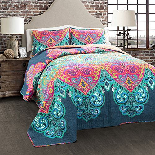 3 Piece Girls Rainbow Bohemian Quilt Full Queen Set Beautiful Boho Chic Floral Bedding Colorful Multi Hippie Medallion Flower Motif Aztec Southwest Indian Themed Pattern Navy Teal Blue Pink Orange