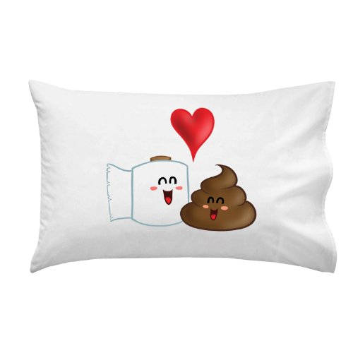 Funny Poop with Toilet Paper Best Friends Colorful - Pillow Case Single Pillowcase
