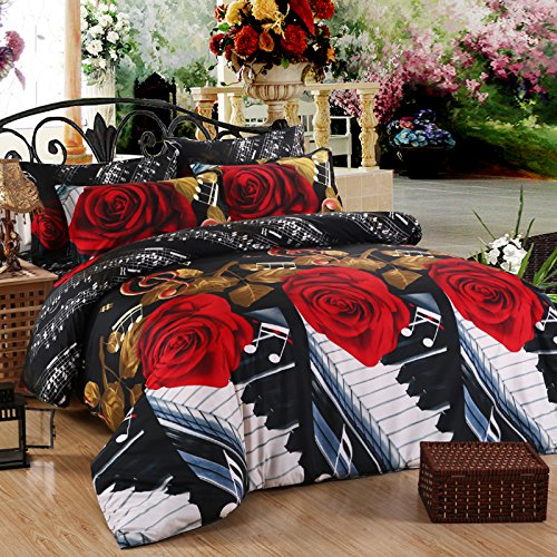 FY Home Decora 3d Red Rose Duvet Cover Bedding Set 3pc Queen Full Size Bedset