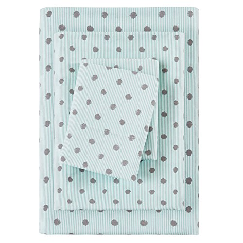 3 Piece Girls Polka Dot Aqua Blue Sheet Twin Set Light Blue Color Allover Dots Pattern Rugby Stripes Kids Bedding For Bedroom Modern Unique Casual Teen Spots Circles Themed Cotton Striped