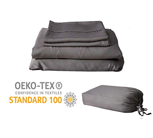 100 Viscose Bamboo Sheets Dark Grey King-Silky Soft Breathable and Cool Organic Hypoallergenic Sheet Set-Flat and Fitted Sheet Deep Pocket 16