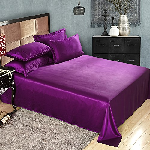 Lilysilk 1B02-13-CK 100 Mulberry Silk Sheets Set 4pcs 19 Momme California King Violet